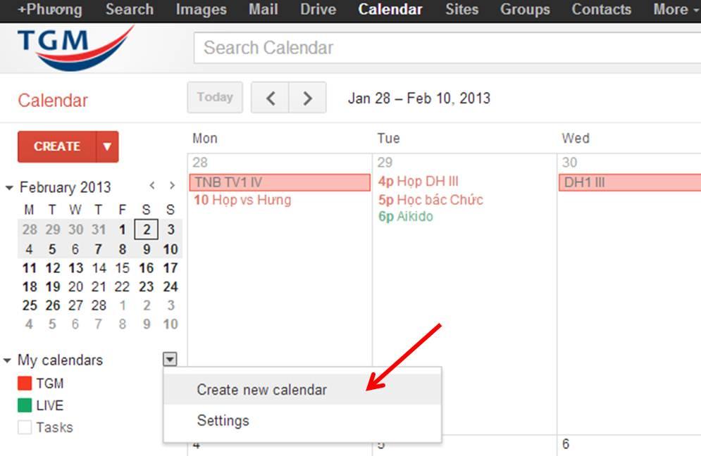1 create new calendar
